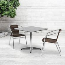 See Details - 31.5'' Square Aluminum Indoor-Outdoor Table Set with 2 Dark Brown Rattan Chairs