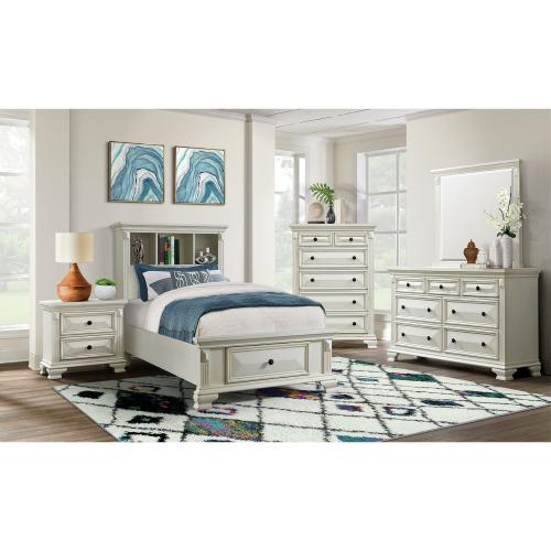 Calloway Twin Storage Bookcase Bed with USB in White