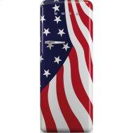"24"" retro-style fridge, American flag, Right-hand hinge"