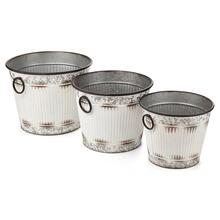 Viktor Antique White Galvanized Buckets - Set of 3