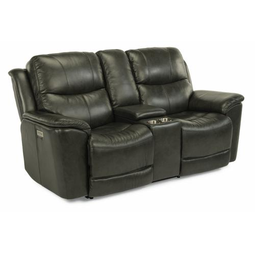 Flexsteel - Cade Power Reclining Loveseat with Console and Power Headrests and Lumbar