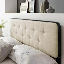 Collins Tufted Twin Fabric and Wood Headboard in Black Beige