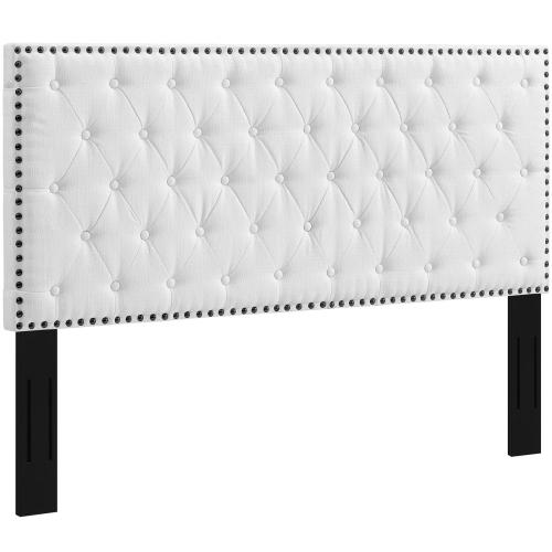 Helena Tufted Full / Queen Upholstered Linen Fabric Headboard in White