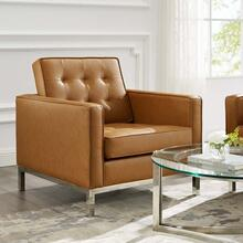 Loft Tufted Upholstered Faux Leather Armchair in Silver Tan