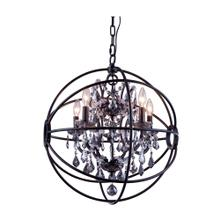 Geneva 5 light Dark Bronze Pendant Silver Shade (Grey) Royal Cut crystal