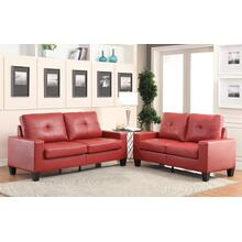 "71"" Red Pu Platinum Sofa And Loveseat"