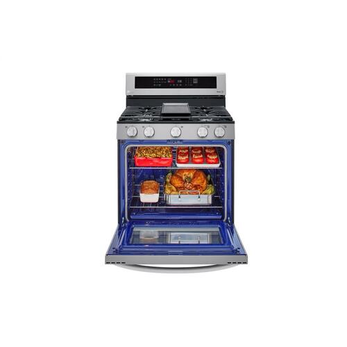 5.8 cu ft. Smart Wi-Fi Enabled True Convection InstaView® Gas Range with Air Fry