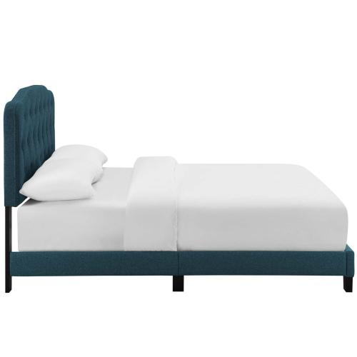 Amelia Twin Upholstered Fabric Bed in Azure
