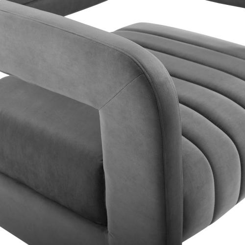 Range Tufted Performance Velvet Accent Armchair in Charcoal