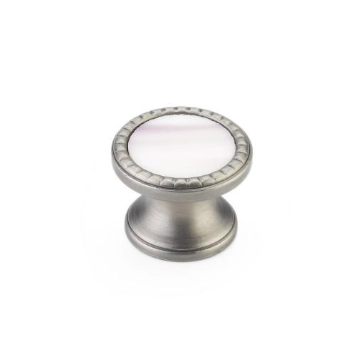 "Kingsway, Knob, Round, 1-1/4"" dia, Antique Nickel, Champagne Glass"