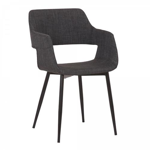 Armen Living - Ariana Mid-Century Charcoal Open Back Dining Accent Chair