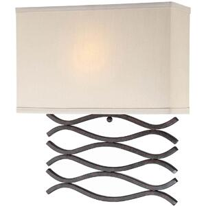 Wall Lamp, Dark Bronze/beige Fabric Shade, Fluor. Gu24 13w