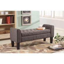 7070 GRAY Fabric Armrest Storage Bench