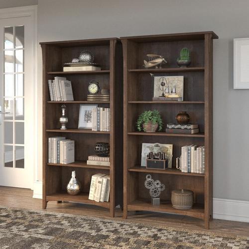 Salinas Tall 5 Shelf Bookcase - Set of 2 - Ash Brown