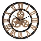 Baxton Studio Randolph Industrial Vintage Style Black and Distressed Brown Finished Wood Wall Clock Product Image