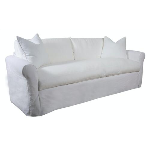 Roll Arm, Standard Depth, Bench Seat, King Slipcover Sofa.