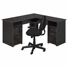 See Details - L Shaped Computer Desk and Chair Set, Espresso Oak