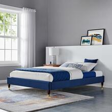 Harlow Twin Performance Velvet Platform Bed Frame in Navy