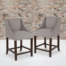"""Product Image - Carmel Series 24"""" High Transitional Walnut Counter Height Stool with Nail Trim in Light Gray Fabric, Set of 2"""