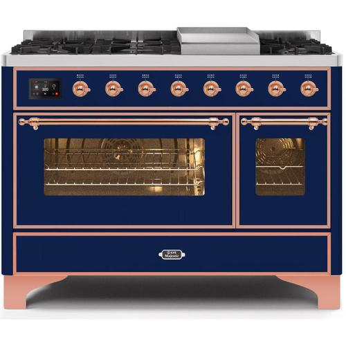 Ilve - Majestic II 48 Inch Dual Fuel Natural Gas Freestanding Range in Blue with Copper Trim