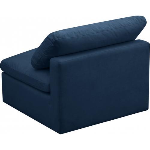 """Plush Velvet Standard Cloud Modular Down Filled Overstuffed Armless Chair - 35"""" W x 35"""" D x 32"""" H"""