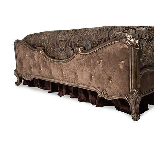 Queen Panel Bed w/Brown Fabric (3 pc)