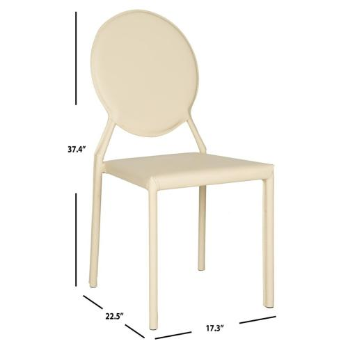 Warner 37''h Round Back Leather Side Chair - Buttercream