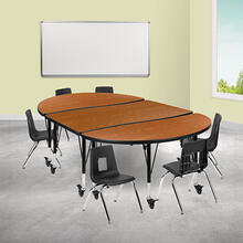 """Mobile 76"""" Oval Wave Collaborative Laminate Activity Table Set with 12"""" Student Stack Chairs, Oak\/Black"""