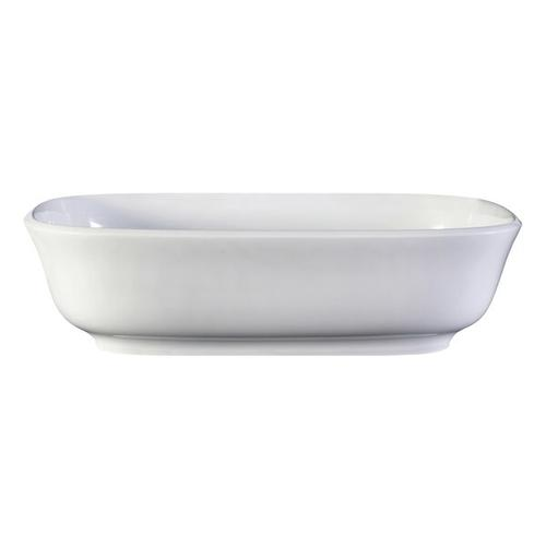 Amiata 60 Rounded Rectangle 23-5/8 Inch Vessel Lavatory Sink in Volcanic Limestone™ without Internal Overflow - Gloss White