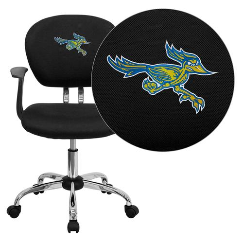 California State University - Bakersfield Roadrunner Embroidered Black Mesh Task Chair with Arms and Chrome Base