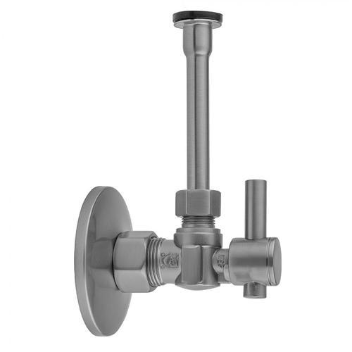 "Jaclo - Antique Brass - Quarter Turn Angle Pattern 5/8"" O.D. Compression (Fits 1/2"" Copper) x 3/8"" O.D. Toilet Supply Kit Contempo Lever Handle, 12"" Supply Tube, Escutcheon"