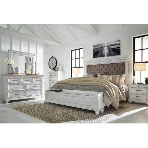 Queen Panel Bed With Storage With Mirrored Dresser and 2 Nightstands