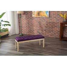 Mod Urban Style Solid Wood Fabric Padded Dining Bench, Purple