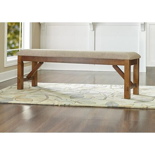 Upholstered Polyester Tan Seat Bench, Dark Hazelnut