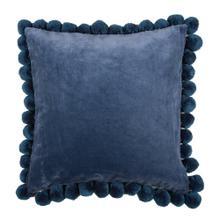 "Hamal 20"" Square Velvet Pillow with Pom Poms, Classic Blue"