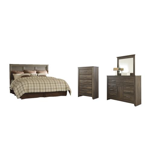 Product Image - King/california King Panel Headboard With Mirrored Dresser and Chest