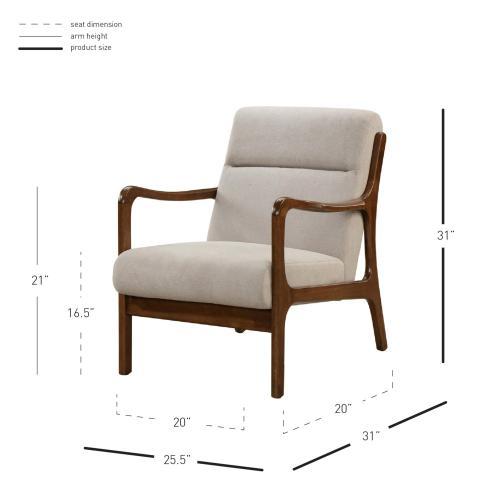 Anton KD Accent Arm Chair Dark Walnut Frame, Studio Light Brown