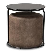 See Details - Baxton Studio Kira Modern and Contemporary Black with Grey and Brown 2-Piece Nesting Table and Ottoman Set