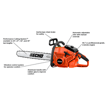 "ECHO's most powerful chainsaw. 24"", 27"", 32"", and 36"" bar lengths."