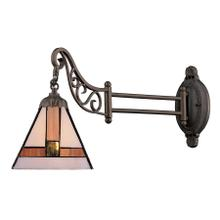 Mix-N-Match 1-Light Swingarm Wall Lamp in Tiffany Bronze and Tiffany Style Glass