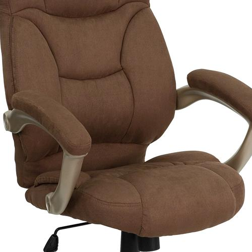Gallery - High Back Brown Microfiber Contemporary Executive Swivel Ergonomic Office Chair with Arms