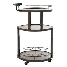 See Details - Rio 3 Tier Round Bar Cart and Wine Rack - Gunmetal / Tinted Glass