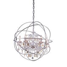 See Details - Geneva 6 light Polished nickel Chandelier Golden Teak (Smoky) Royal Cut crystal
