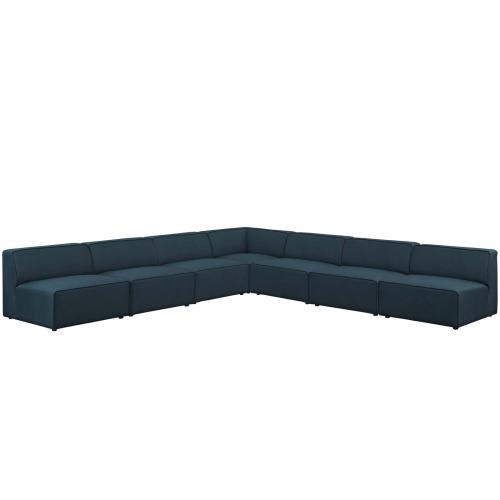 Mingle 7 Piece Upholstered Fabric Sectional Sofa Set in Blue