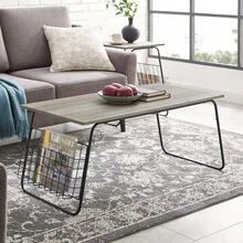 NOT ADDED: Modern Coffee Table with Magazine Holder - Grey Wash