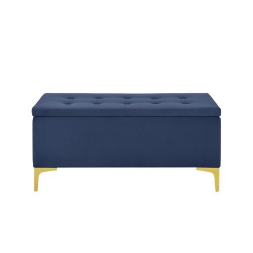 42 Inch Hinged Top Storage Bench w/ Grid-Tufted Seat in Navy
