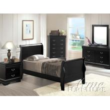 Black Finish Twin Size Bedroom Set