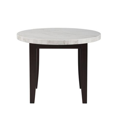 Francis 40 inch Round White Marble Top Dining Table