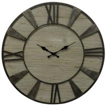 Weathered Wood Round Roman Numeral Wall Clock  32in X 32in X 2in  Wall Clock