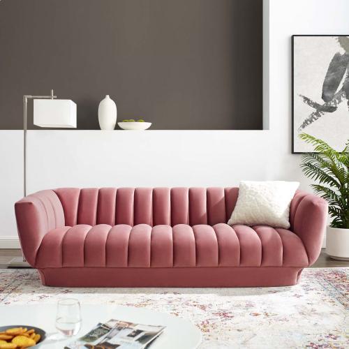 Entertain Vertical Channel Tufted Performance Velvet Sofa in Dusty Rose